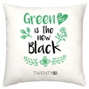 Green Is The New Black  - Linen Cushion Cover 50X50cm